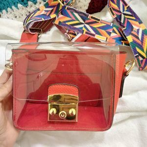 Red clear colorful strap purse